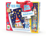 Count down to learning with our new Long & Tall Puzzle series. The 123 Rocket Ship puzzle features numbers and as you build the rocket you will find objects to count that correspond to the numbers they are near. This Jumbo puzzle has 51 pieces and measures 5 feet tall! Ages 3+ years. SKU #657092434284