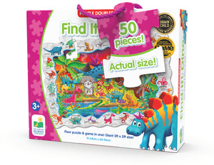 Enjoy two fun-filled playtime activities in one! Each Find It! product combines a puzzle and game into one highly educational, interactive learning experience. The Find It! series teaches children about friends, dinosaurs, ABCs and 123s. First assemble the puzzle, then play the game by finding the images on the puzzle border within the puzzle image. Each 50-piece puzzle measures a giant 3' x 2'! Ages 3+ years.