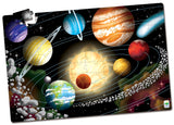 Learning about space has never been so much fun. Expand your knowledge of the solar system with this 100-piece Puzzle Double! After you put the puzzle together, turn off the lights and the puzzle glows in the dark! Additionally turn the puzzle over and you have a coloring activity. The bright illustrations encourage parent-child conversation. Each 100-piece puzzle measures a giant 3' X 2' ! Ages 3+ years.