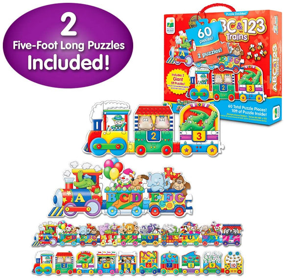 Two colorful cargo train puzzles: one teaching ABC's and one teaching Numbers. Each Giant Puzzle features very bright and colorful illustrations that encourage parent-child discussion about the pictured objects. Each Giant Puzzle has 30 puzzle pieces (60 pieces total) and each puzzle measures 5-foot long (10-feet total)! Ages 3+ years.
