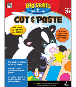 Big Skills for Little Hands(R): Cut and Paste for ages 3 and up provides essential practice for cutting and pasting. With 192 pages of fun activities, this workbook helps young learners build foundational skills by creating puppets, solving puzzles, and working with fun animal characters.