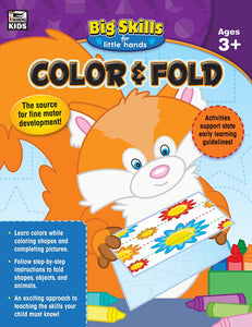 Big Skills for Little Hands(R): Color and Fold for ages 3 and up provides essential practice for coloring and folding. With 192 pages of fun activities, this workbook helps young learners complete pictures with appropriate colors; color by numbers; and fold shapes, objects, and animals.  Current state standards have increased the academic demands on kindergarten students, making early learning more important than ever. Big Skills for Little Hands: Color and Fold engages early learners in activities that wil