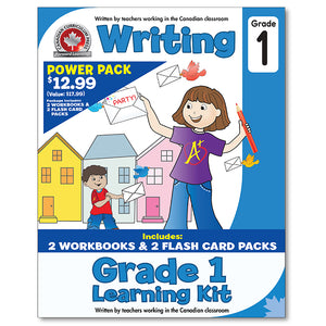 Grade 1 Learning Kits; 2 Workbooks, Math, Writing, 2 Flash Cards - Canadian Curriculum Press