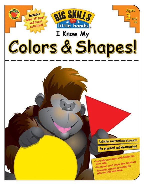 Big Skills for Little Hands(R) helps early learners prepare for kindergarten by building important basic and motor skills! By using I Know My Colors & Shapes!, young children will learn to recognize colors and shapes while building fine motor skills, pasting, using pencils, and using scissors to cut shapes, lines, and curves. A bonus write-and-wipe page at the back of the book offers space for practicing additional fine motor activities. The activities in this workbook support national standards for early c