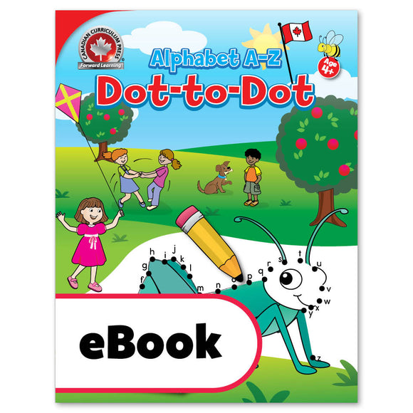 This Alphabet A-Z Dot-to-Dot activity book includes 64 colourful Canadian puzzles.Children will enjoy practising alphabetical order and recognition of upper- and lowercase letters, and will even get to colour the illustrations once all the numbers are connected! This activity book is great for quiet time and complements Canadian Curriculum Press's educational workbooks.   64 pages // ISBN: 9781487606411