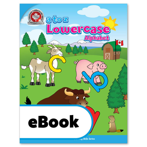 The A to Z Lowercase Alphabet workbook reinforces beginning alphabet skills in preparation for reading and writing. It guides children to recognize, trace, and print lowercase letters as well as to recognize letter sounds by naming illustrations and hearing silly sentences that may be read aloud by an adult. Canadian themes throughout say 'home' to Canadian kids!   64 pages // ISBN: 9781487606336