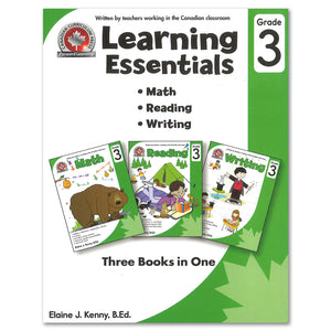 Learning Essentials Grade 3 - Three Books in One: Math, Reading, Writing; workbooks introduces key concepts that children will encounter in the Canadian grade 3 curriculum. Written by a teacher working in a Canadian classroom, the Grade 3 Learning Essentials workbook fosters strong skills in key areas of the curriculum and prepares children for later success in the grade 3 classroom. 195 pages // ISBN: 9781487601669