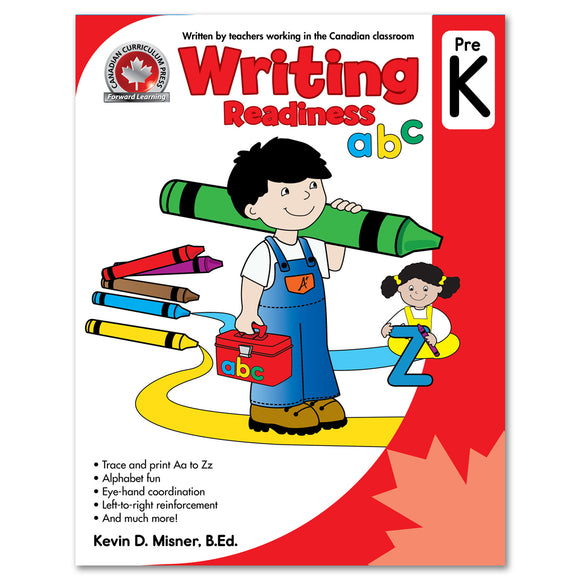 Writing Readiness Pre-Kindergarten Workbook: Trace And Print Aa To Zz, Alphavet Fun, Eye-Hand Coordination - Canadian Curriculum Press