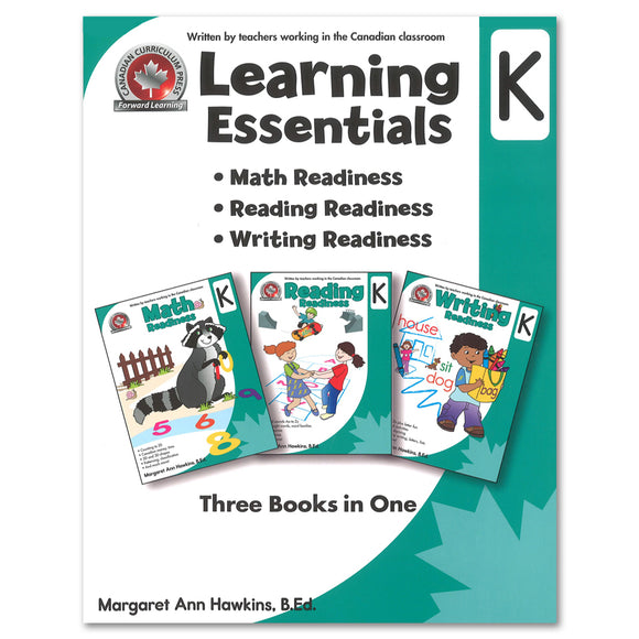 Learning Essentials Kindergarten: Math, Reading, Writing - 3 Books in 1 - Canadian Curriculum Press