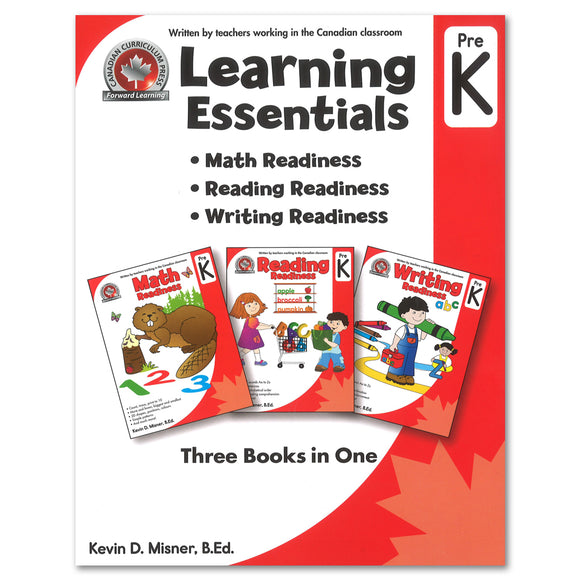 Learning Essentials Pre-Kindergarten Workbook: Math, Reading, Writing - 3 Books in 1 - Canadian Curriculum Press