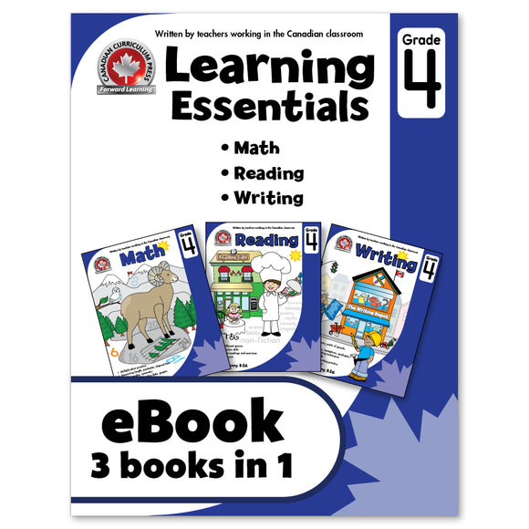 eBook Learning Essentials Grade 4 - Three Books in One - Workbook - Canadian Curriculum Press