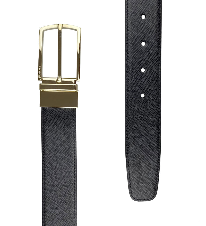 BLACK LEATHER BELT WITH LIGHT GOLD BUCKLE