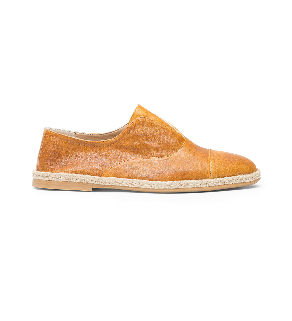 FADED LEATHER DERBY SLIP-ONS