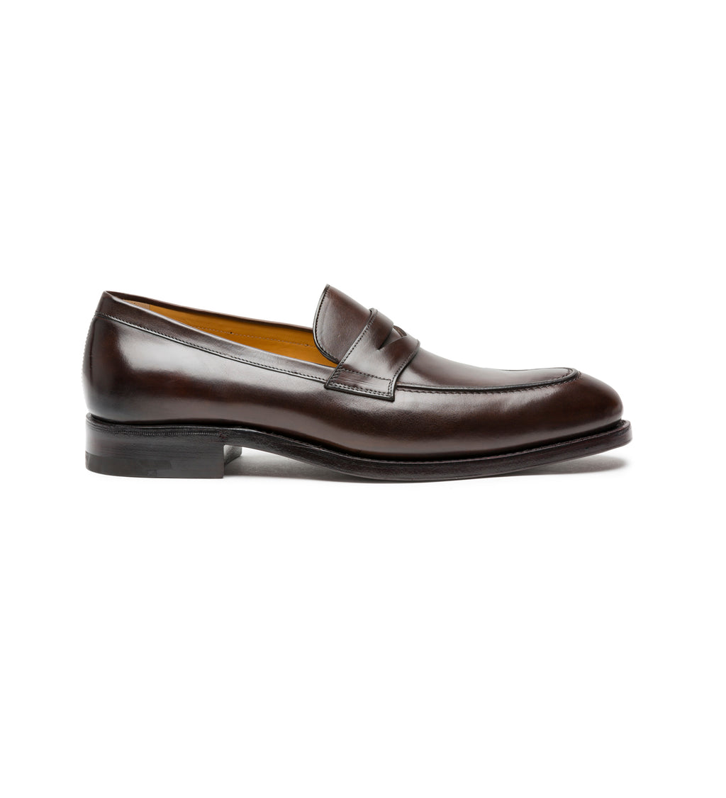 AMEDEO TESTONI SLIP-ONS IN ANTIQUED LEATHER