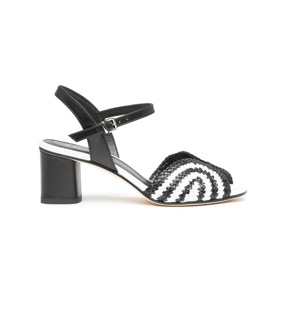 WOVEN BLACK & WHITE SANDALS