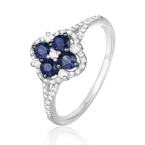 Sapphire and Diamond Clover Ring