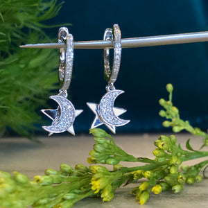 Diamond Moon and Star Charm Hoop Earrings