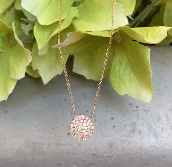 Small Diamond Disc Necklace