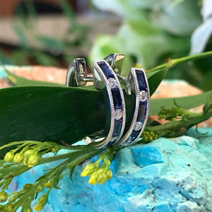 Sapphire and Diamond Huggie Style Earrings