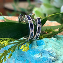 Load image into Gallery viewer, Sapphire and Diamond Huggie Style Earrings