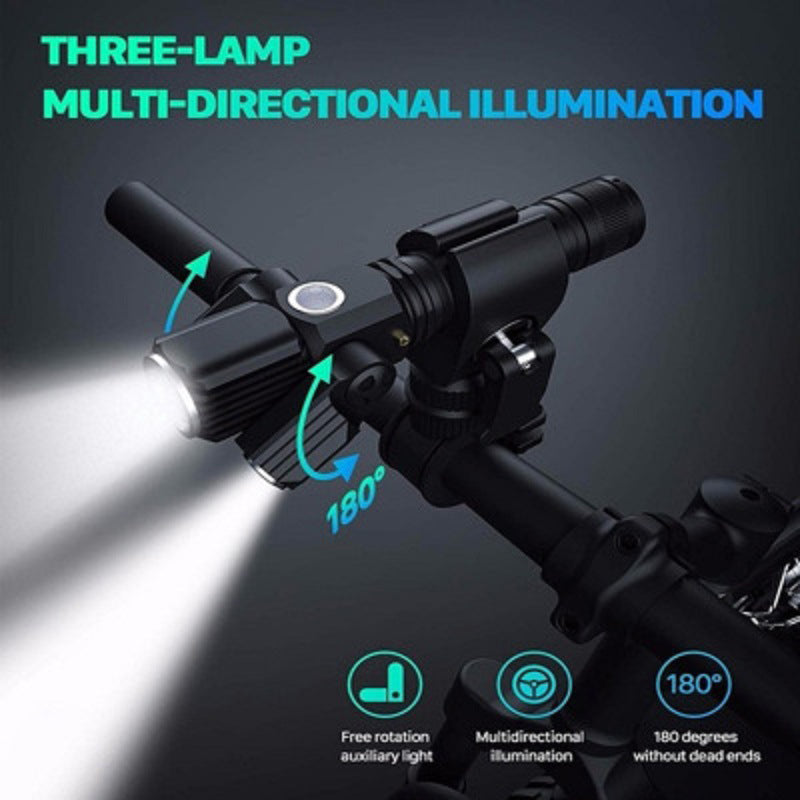 USB Charging Bicycle Light 4 Lighting Mode Super Bright LED Three Lamp Flashlight High Quality Waterproof Bike Accessories