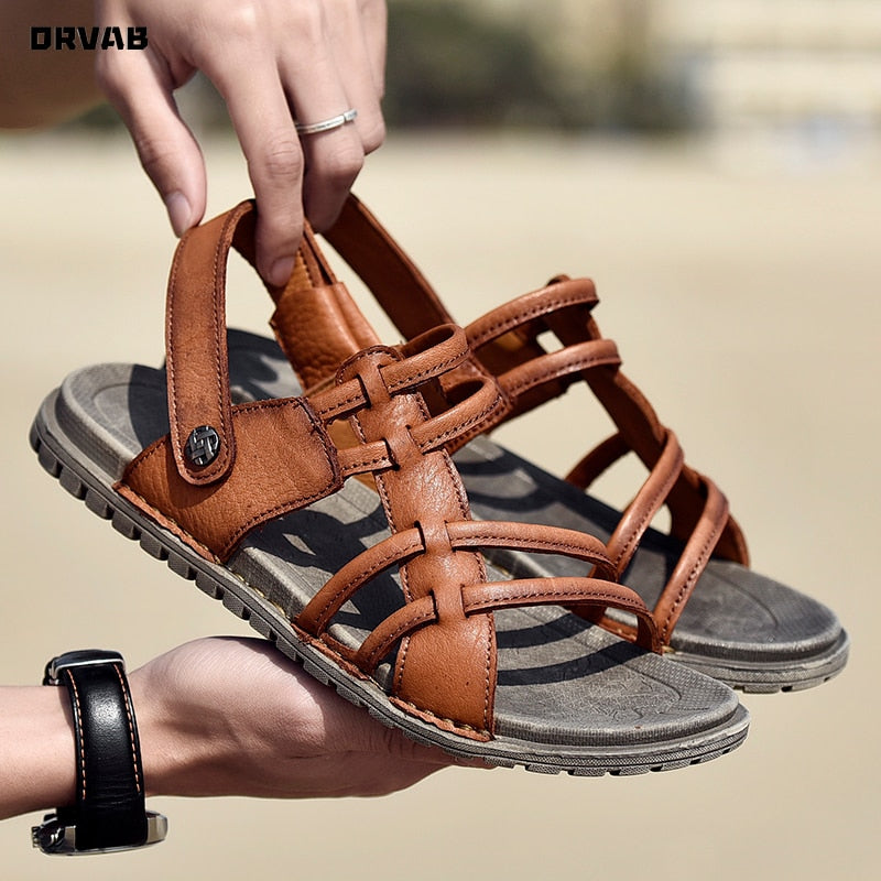 Leather Mens Sandals Summer Fashion Soft Comfortable Gladiator Sandals Beach Men Sandals