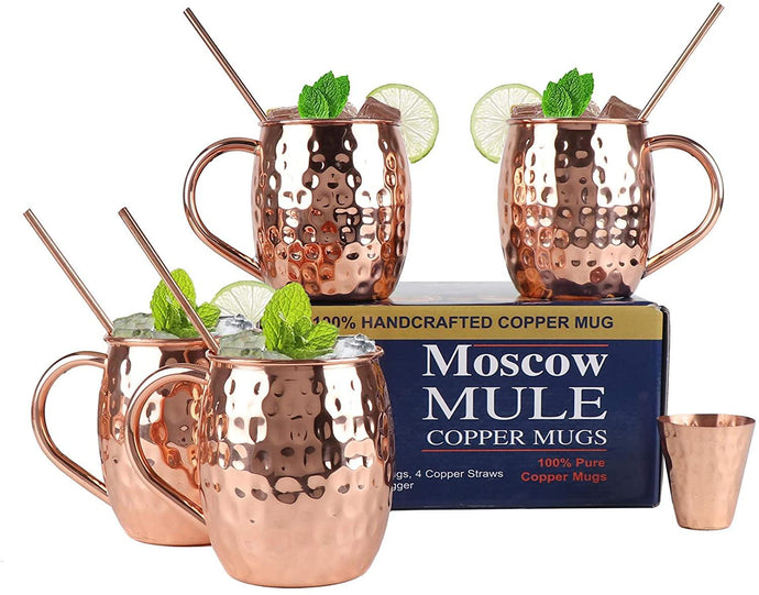 Set Of 4 Handcrafted Copper Moscow Mule Mugs Copper Handle, Jigger and 4 Copper Straws - Perilla Home