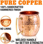 Load image into Gallery viewer, Copper Moscow Mule Brass Handle set of 4
