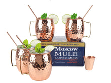 Load image into Gallery viewer, Copper Moscow Mule Brass Handle set of 4 - Perilla Home