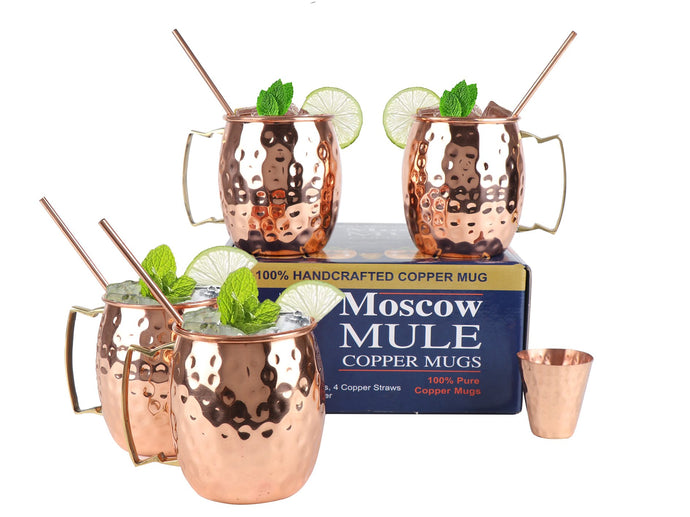 Copper Moscow Mule Brass Handle set of 4 - Perilla Home