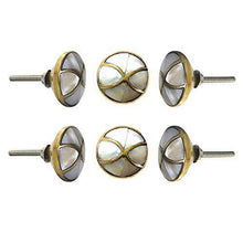 Load image into Gallery viewer, Set Of Six Marble Brass MOP Knobs - Perilla Home