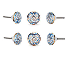 Load image into Gallery viewer, Aster Blue Ceramic Knob ( Set Of 6 ) - Perilla Home