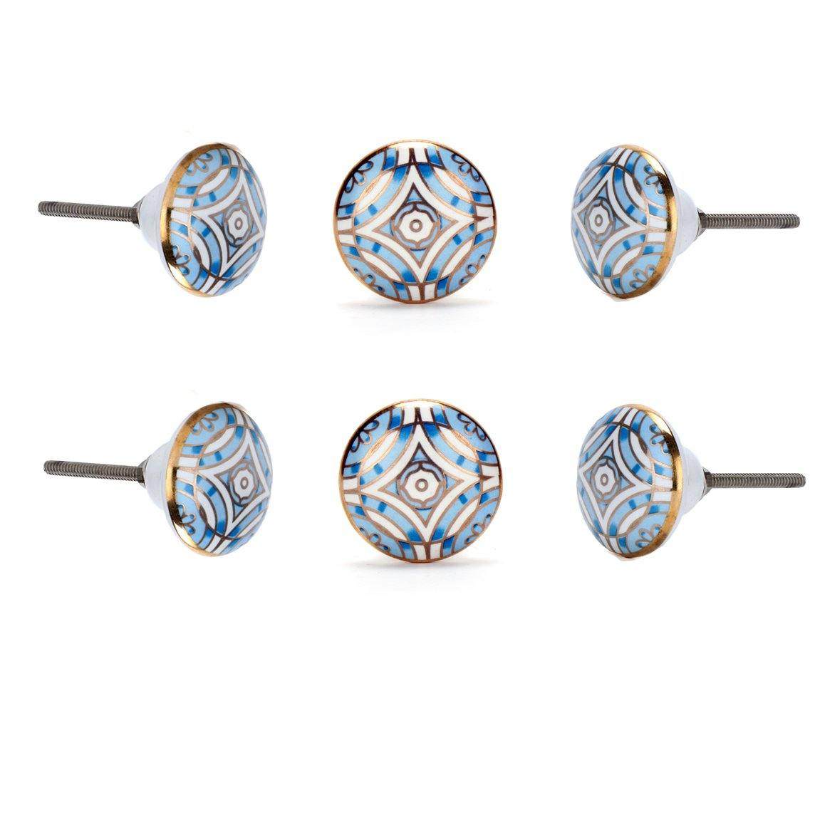 Aster Blue Ceramic Knob ( Set Of 6 ) - Perilla Home