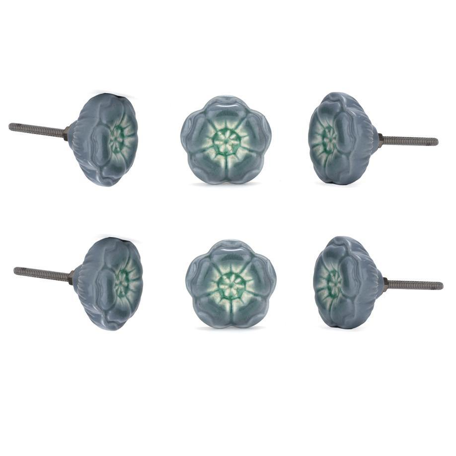 Azalea Grey Ceramic Knob ( Set Of 6 ) - Perilla Home