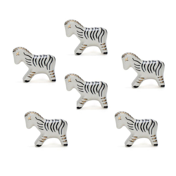 Zebra Ceramic Knob ( Set Of 6 ) - Perilla Home