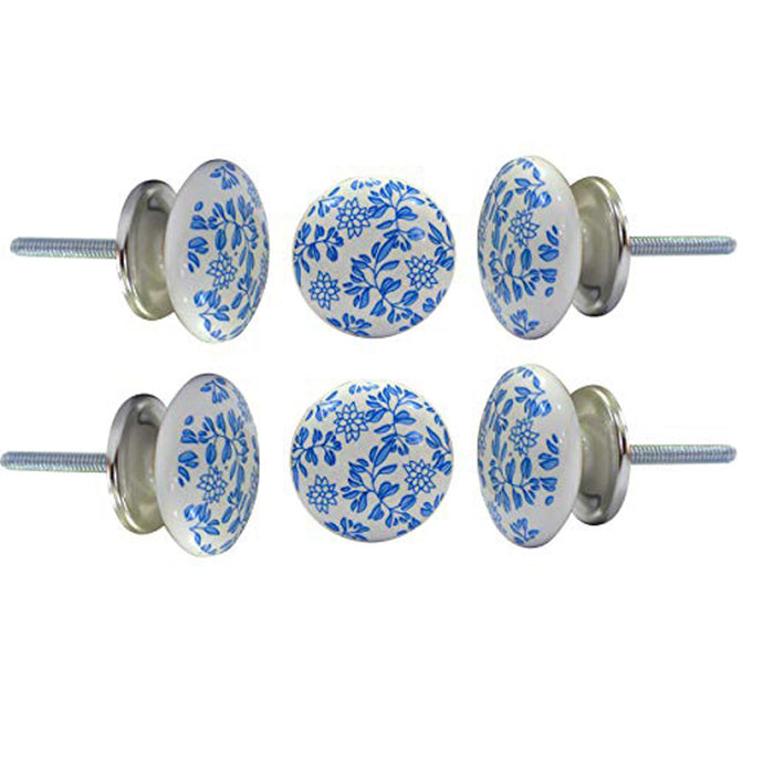 Set Of Six Blue Shabby Ceramic knobs - Perilla Home