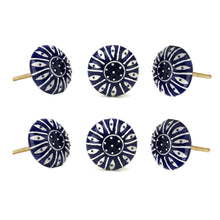Load image into Gallery viewer, Set Of Six Dark Blue Printed Ceramic Knobs - Perilla Home