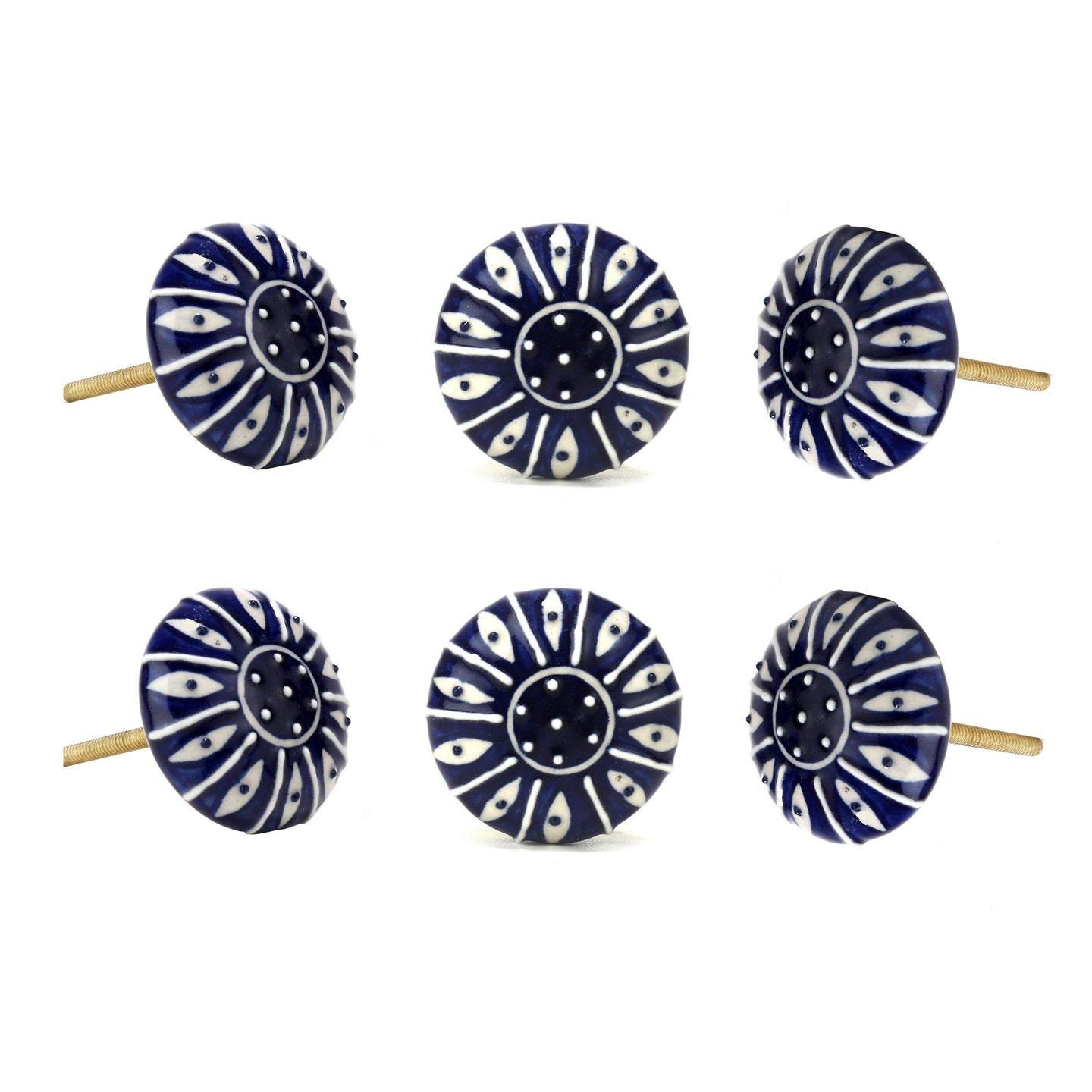 Set Of Six Dark Blue Printed Ceramic Knobs - Perilla Home