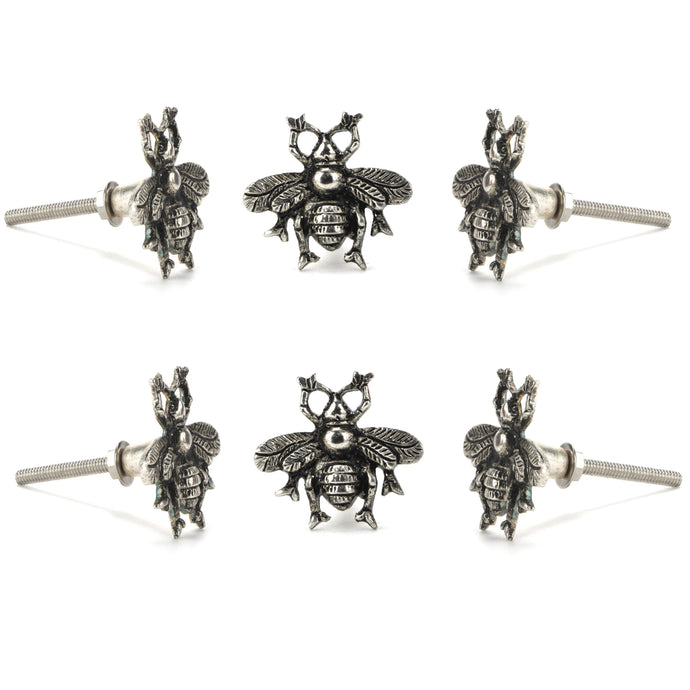 Set of 6 Chrome Bee Knob - Perilla Home