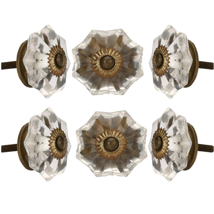 Set Of Six Clear Melon Glass Knobs - Perilla Home