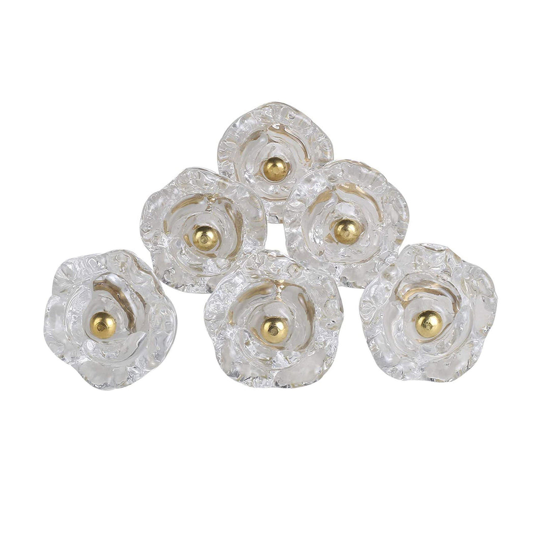 Set Of Six Transparent Rose Glass  Knobs - Perilla Home