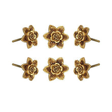 Carregar imagem no visualizador da galeria, Set Of Six Gold Flower Knobs - Perilla Home