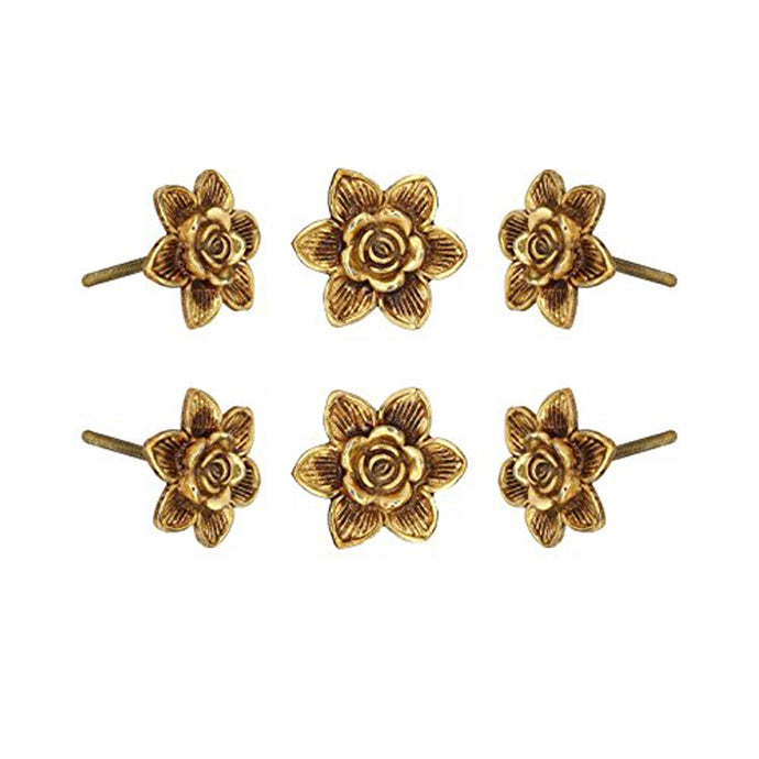 Set Of Six Gold Flower Knobs - Perilla Home