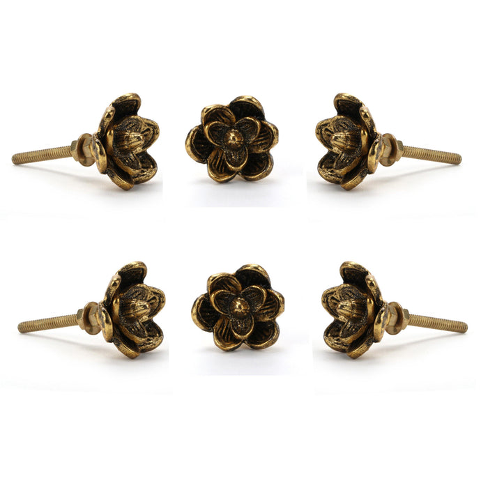 Set of 6 Gold Flower knob - Perilla Home