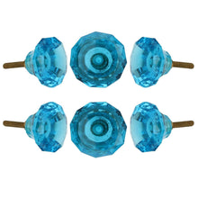 Charger l'image dans la galerie, Turquoise Ocean Cut Glass Knob Set Of 6 - Perilla Home