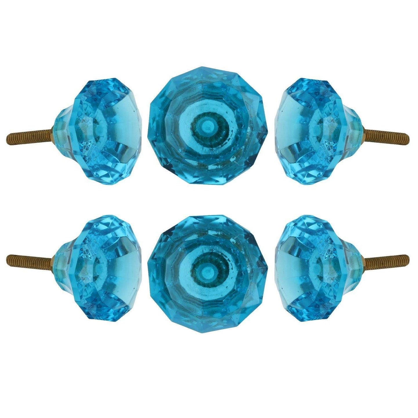 Turquoise Ocean Cut Glass Knob Set Of 6 - Perilla Home