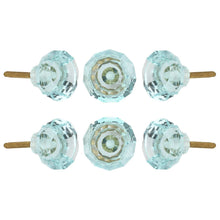 Load image into Gallery viewer, Turquoise Cut Glass Knobs Set Of 6 - Perilla Home
