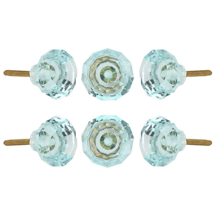 Turquoise Cut Glass Knobs Set Of 6 - Perilla Home
