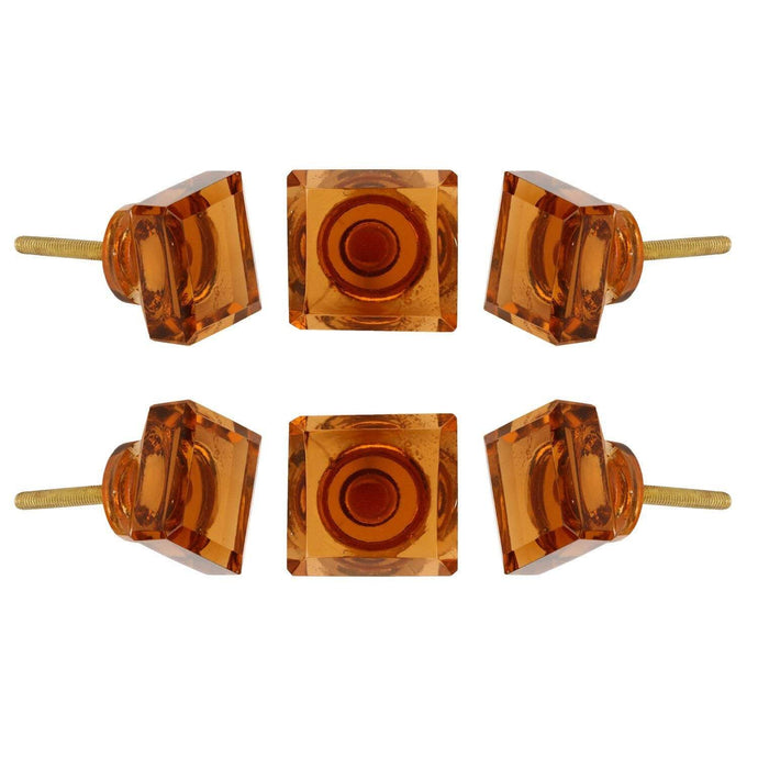 Square Amber Glass Knob Set Of 6 - Perilla Home
