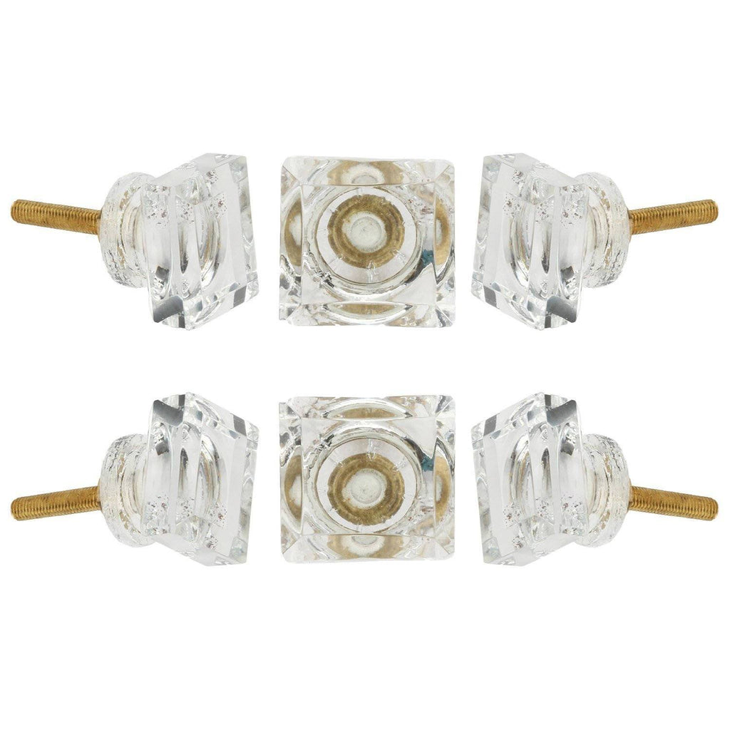 Transparent Square Glass Knob Set Of 6 - Perilla Home
